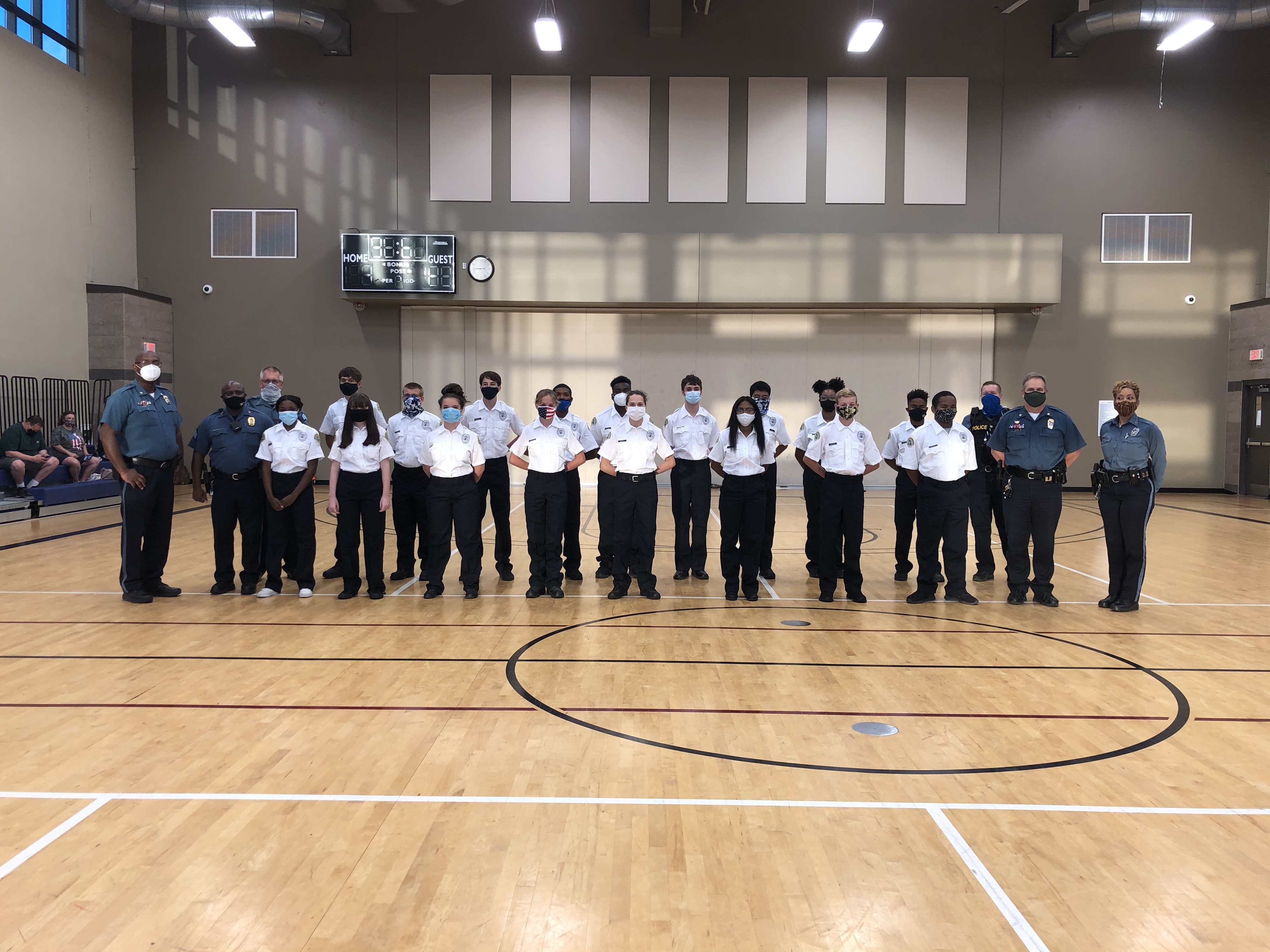 KCPD Explorer Post 8600 members in their uniforms with police leaders